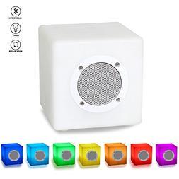 5.9'' Cube Bluetooth Speaker Table Lamp, PowerBeauty Smart D