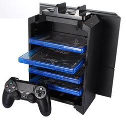 KONKY - PS4 Game Storage Tower Controller Charger, Multifunc