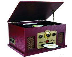 Sylvania 3 Speed Vinyl Stereo Wooden Turntable CD Player Rad