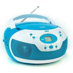 Tyler Portable Neon Blue Stereo CD Player with AM/FM Radio a