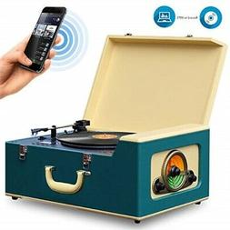 Pyle Vintage Turntable Stereo System - Retro Vinyl with Blue