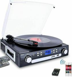 Bluetooth Record Player with Stereo Speakers, Turntable for
