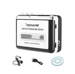 Cassette to MP3 Converter, Wikoo Portable USB Cassette-to-MP