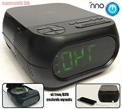 Onn CD/AM/FM Alarm Clock Radio with USB port to charge devic