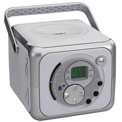 Jensen CD-555 Portable Bluetooth CD Player Music System Silv
