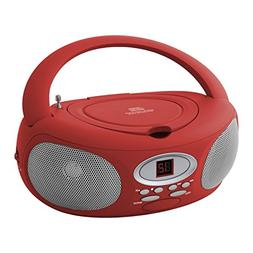 Riptunes CDB220R Portable CD Radio Boombox, Red