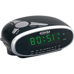 Jensen Compact AM/FM Alarm Clock Radio with Large Easy to Re