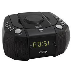 Jensen Compact Dual Alarm Clock Radio with Top-Loading CD Pl
