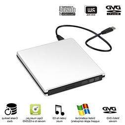 External CD Drive, Auelek Ultra Slim External DVD Drive USB