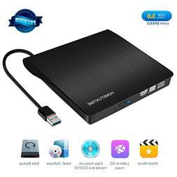 External CD Drive, USB 3.0 External DVD Drive for Laptop/Mac