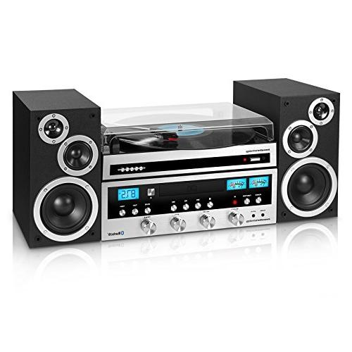 Innovative Technology Bluetooth CD Player, Turntable, Black