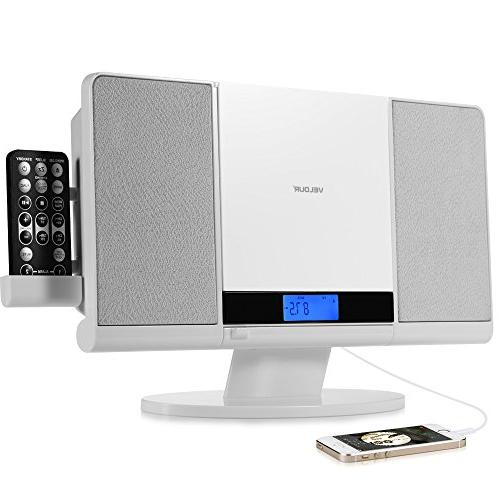 VELOUR Stereo System Slim Boombox with CD Player USB SD FM R