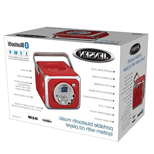 Jensen Red Bluetooth Boombox Music Player & FM Radio Aux-in & Headphone Jack Edition-
