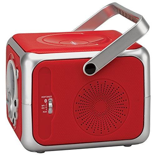 Jensen Red CD Bluetooth Bluetooth Music System with CD Player Radio with Headphone Line-in Edition-