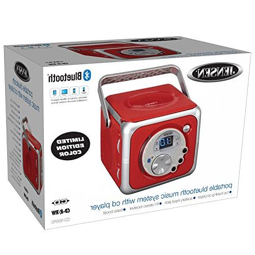 Jensen CD-555 Red CD Bluetooth Boombox Portable Music System with Player Radio Headphone Jack Edition-