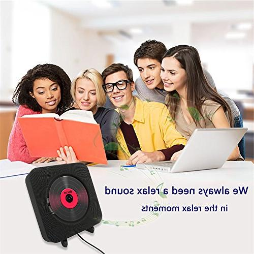 KECAG CD Player Wall Mountable Remote Control Built-in HiFi Speakers USB 3.5mm Headphone Jack input/output