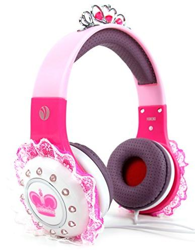 children princess tiara headphones pink