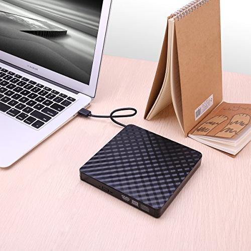 External Portable USB DVD CD Burner RW for Laptop, Mac, 8/ 10/ XP/