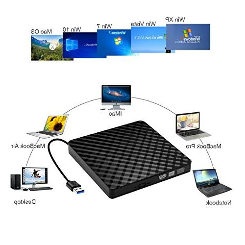 External CD Drive, Portable USB DVD Burner RW for OS