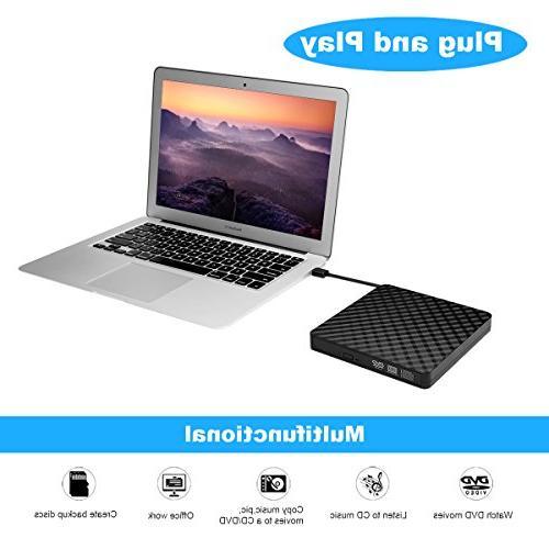 External CD Drive, Portable Slim DVD CD RW Copier, for Laptop, Mac, Support 8/ XP/ OS