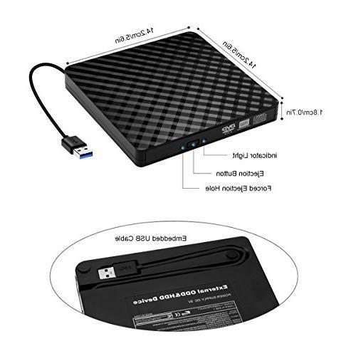 External CD Portable USB DVD Player RW Writer, Copier, Mac, 7/ 8/ OS