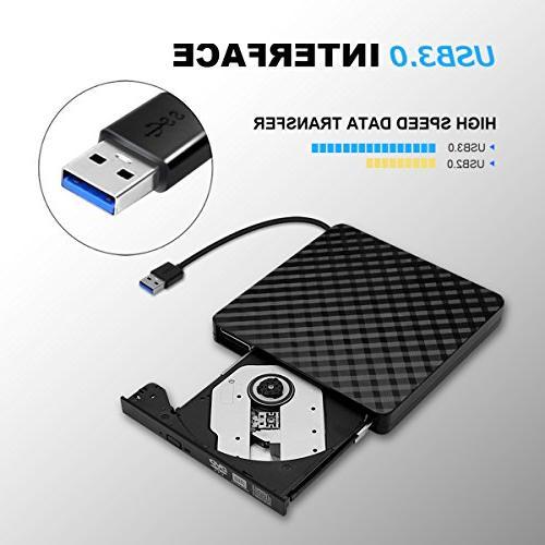 External Portable USB DVD CD Player RW for Mac, Windows 8/ OS
