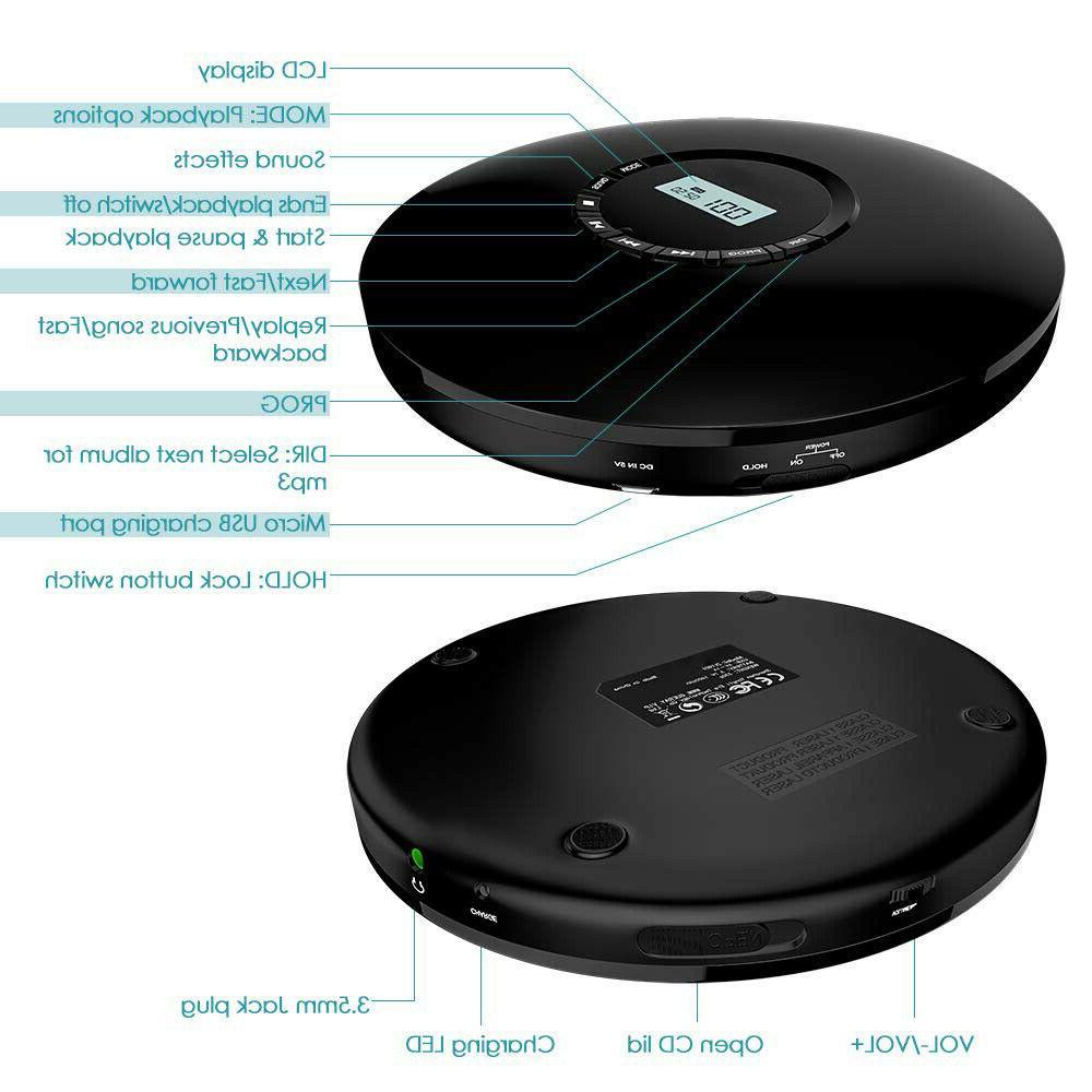 Portable CD Walkman Rechargeable Player