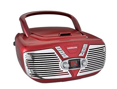 Sylvania SRCD211-RED Portable CD Boombox Retro