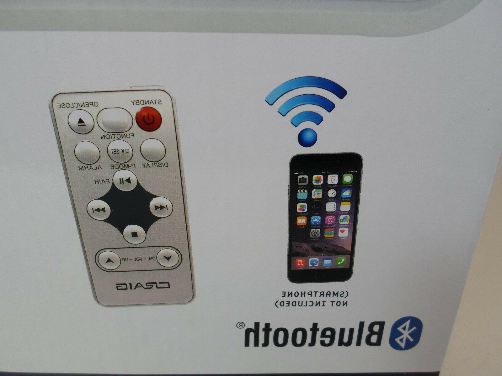 Craig CD Player with AM/FM Alarm Clock, Bluetooth. New!