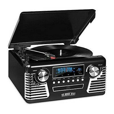 Victrola 50s Retro 3-Speed Bluetooth Turntable w/ Stereo, CD