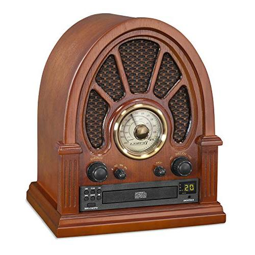 Victrola Wooden Radio Bluetooth CD Player,