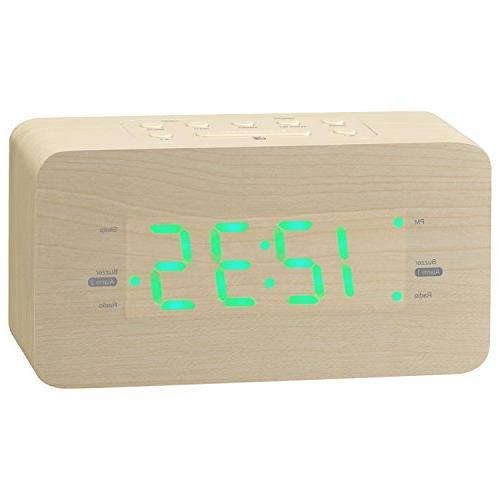 wooden alarm clock radio