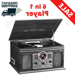 Nostalgic Bluetooth Record Player 6-In-1  3-Speed Turntable