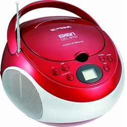 Naxa NPB-252RED Portable MP3/CD Player Boombox AM/FM Radio -