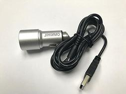 OMNIHIL Replacement 2-Port USB Car Charger w/cord for Sony D