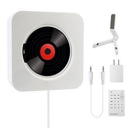 COOAU Portable CD Player Bluetooth Hi-Fi Speaker Wall Mounta