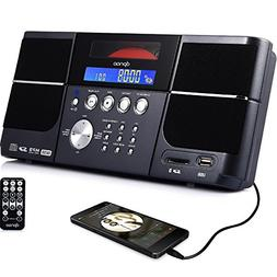 DPNAO Portable cd Player Boombox with FM Radio Clock USB SD