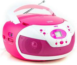 Tyler Portable Neon Pink Stereo CD Player With AM/FM Radio A