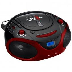 Axess Red Portable Boombox MP3/CD Player with Text Display,