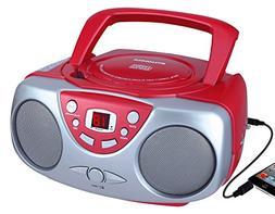 Sylvania SRCD243M-RED Portable Cd Player with Am/FM Radio Bo