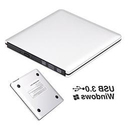 ROOFULL External DVD Drive USB 3.0 Slim Aluminum Portable CD
