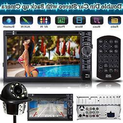 Universal 2 Din Car Stereo DVD CD Player Receiver Radio Blue