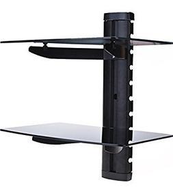 Evokem Wall Mount DVD DVR Bracket, Adjustable Dual Glass She