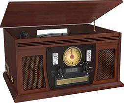 Innovative Technology Wood 7-in-1 Bluetooth Turntable Entert