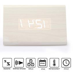 Anten LED Wood Digital Alarm Clock Voice Sound Control USB/A