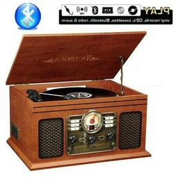 Victrola Wooden 6 in 1 Nostalgic Record Player Turntable Blu